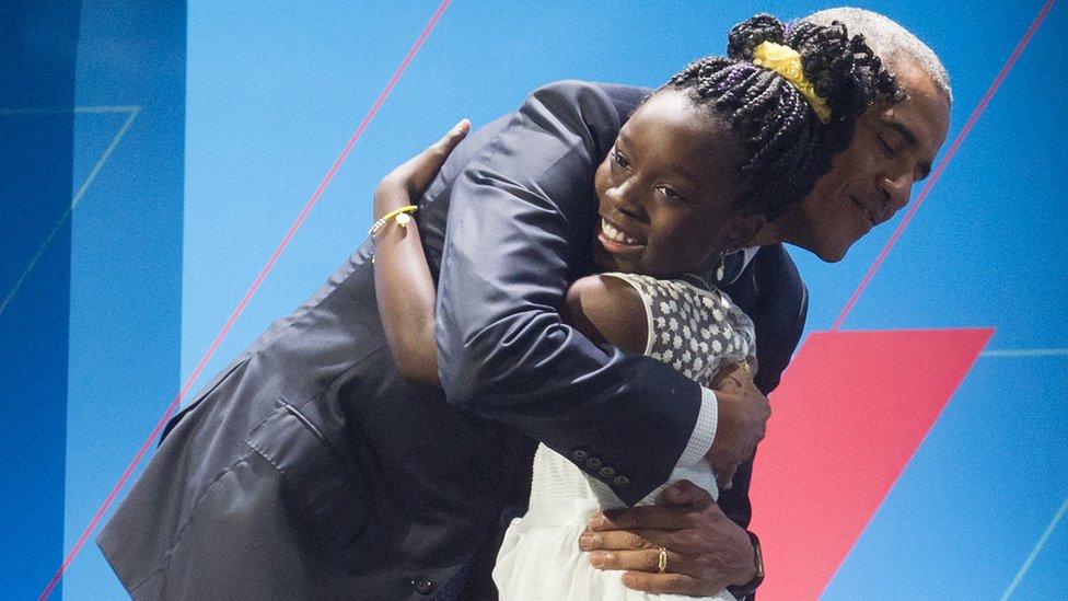 """El expresidente Obama dijo que Mikaila era una """"increíble pequeña señorita""""."""