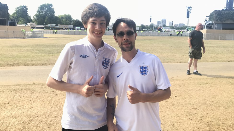 Luke Downing, 13, and his dad Andrew Downing, 39, in Hyde Park