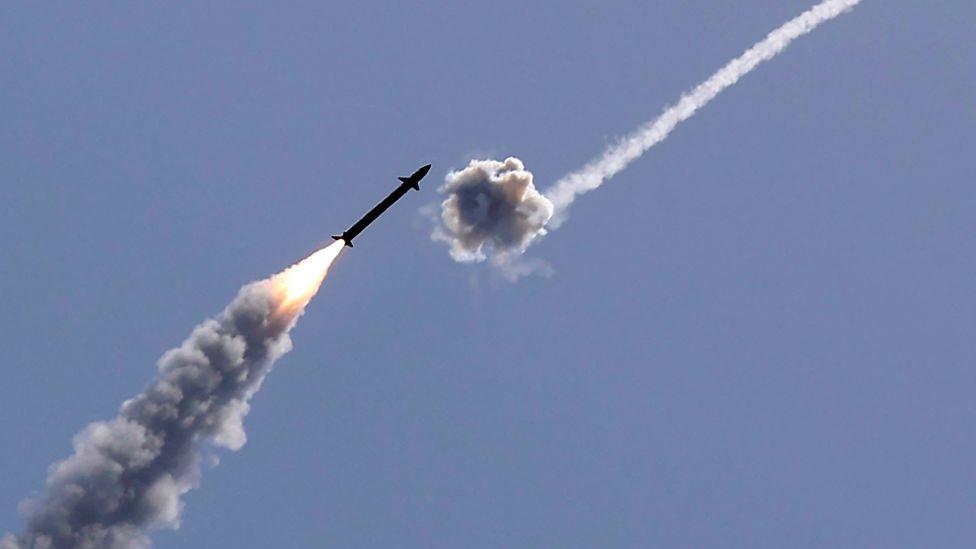 The Iron Dome intercepts a Hamas missile