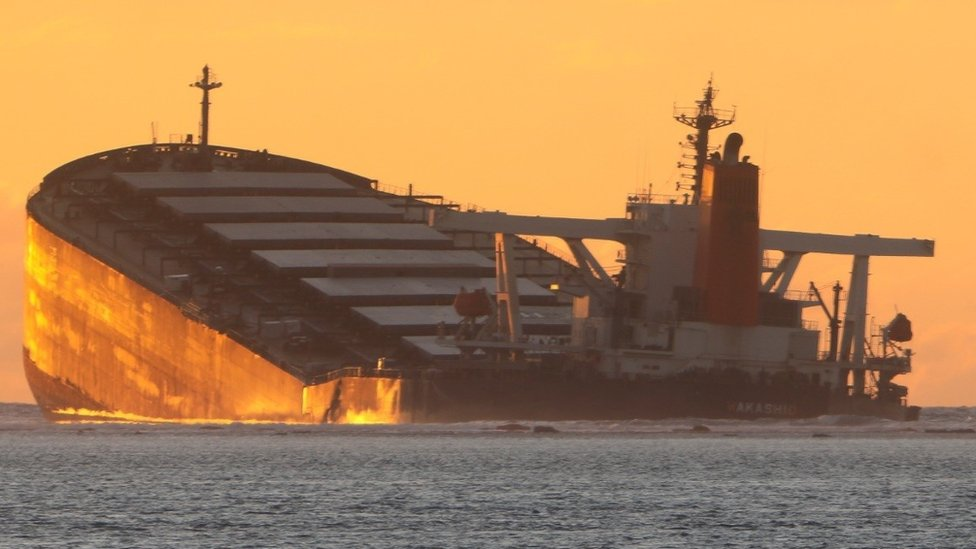 Mauritius oil spill: Wrecked Japanese MV Wakashio ship