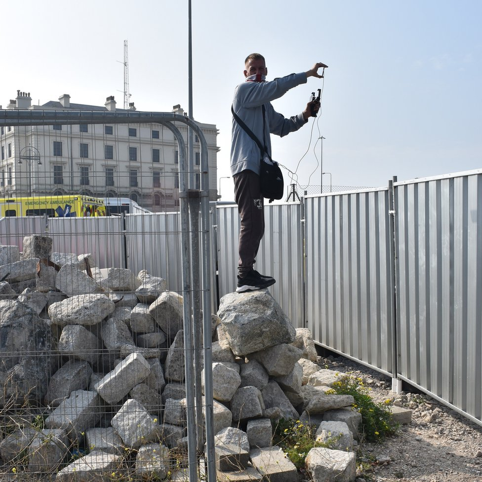 An activist called Active Patriot capturing images at the port of Dover