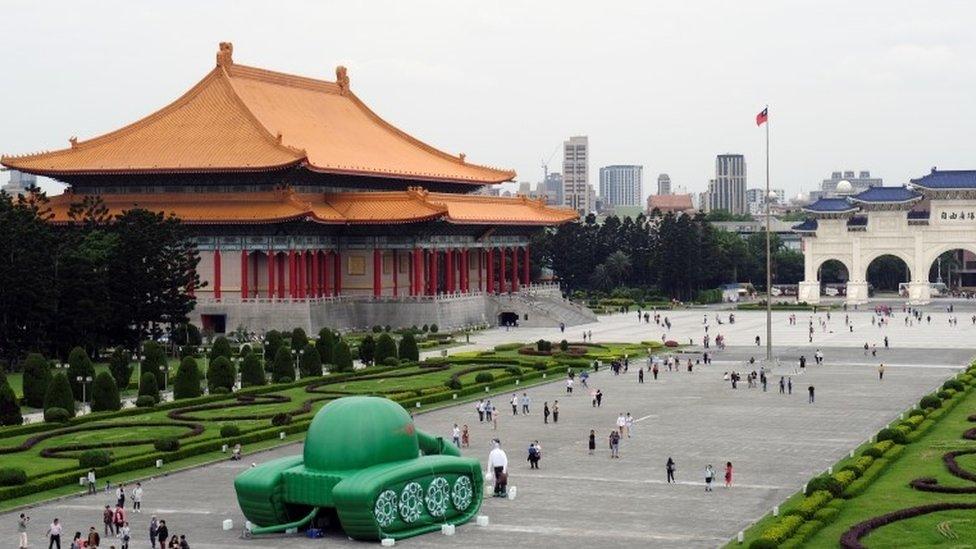 Tank man balloon in Taipei