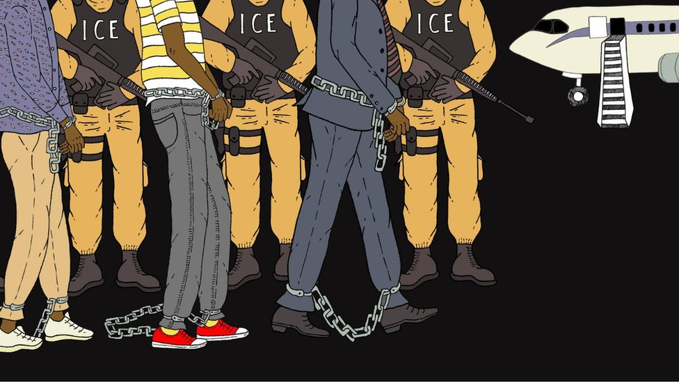 A cartoon showing people being led to a plane in shackles