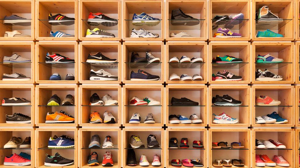 Una colección de zapatillas
