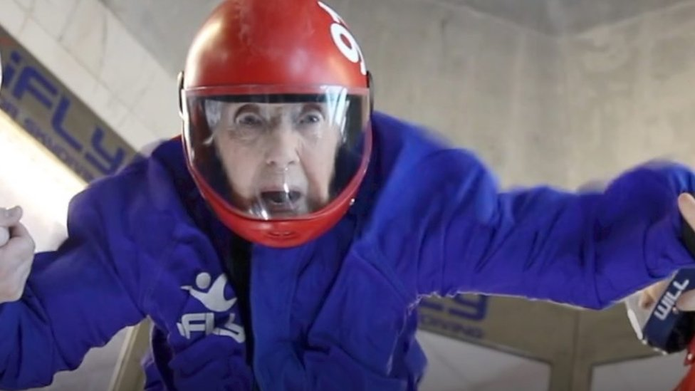 Woman celebrates 102nd birthday with indoor skydive