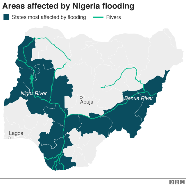 Map showing areas affected by flooding