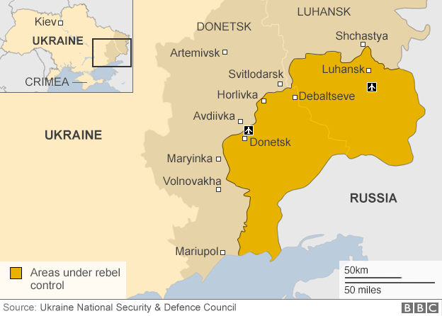 Ukraine map - rebel-held territory