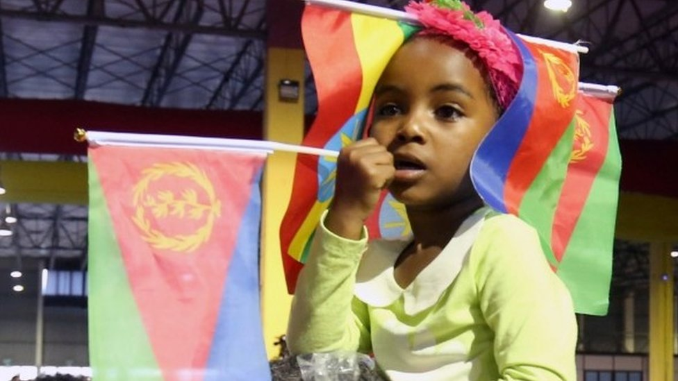 A child wears the Ethiopian and Eritrean national flags during a concert at the Millennium Hall in Addis Ababa, Ethiopia July 15, 2018.