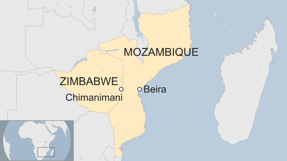 Map of affected regions in Africa
