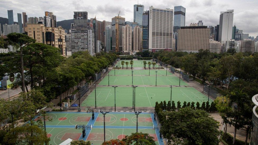 Parque Victoria de Hong Kong vacío este 4 de junio.