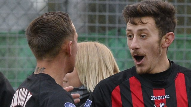 Jordan Forsythe scored twice for Crusaders at Warrenpoint