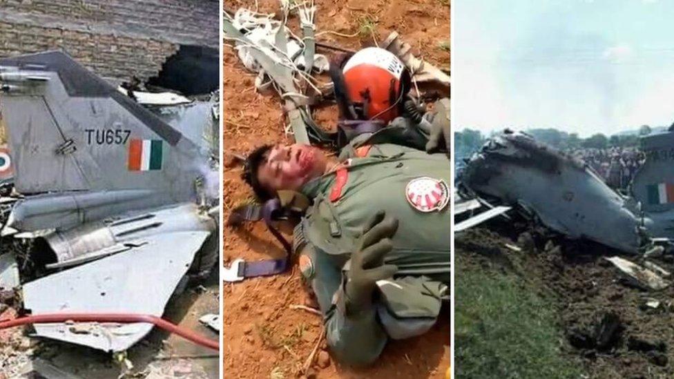 पाकिस्तान में भारत के पायलट और दुर्घटनाग्रस्त विमानों की फ़र्ज़ी तस्वीरें वायरल