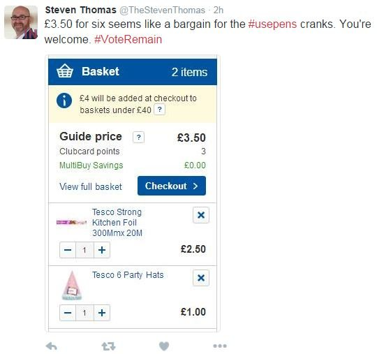 Tweet shows a photo of an online supermarket shopping basket with the purchase of kitchen foil and party hats.