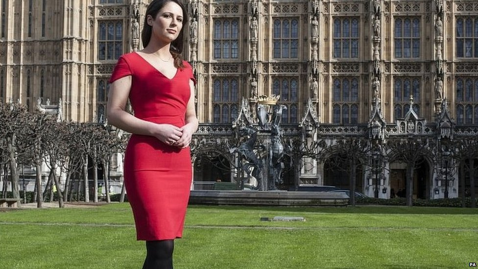 Nicola Thorp outside the House of Commons