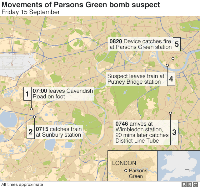 Timeline of events in Parsons Green bombing