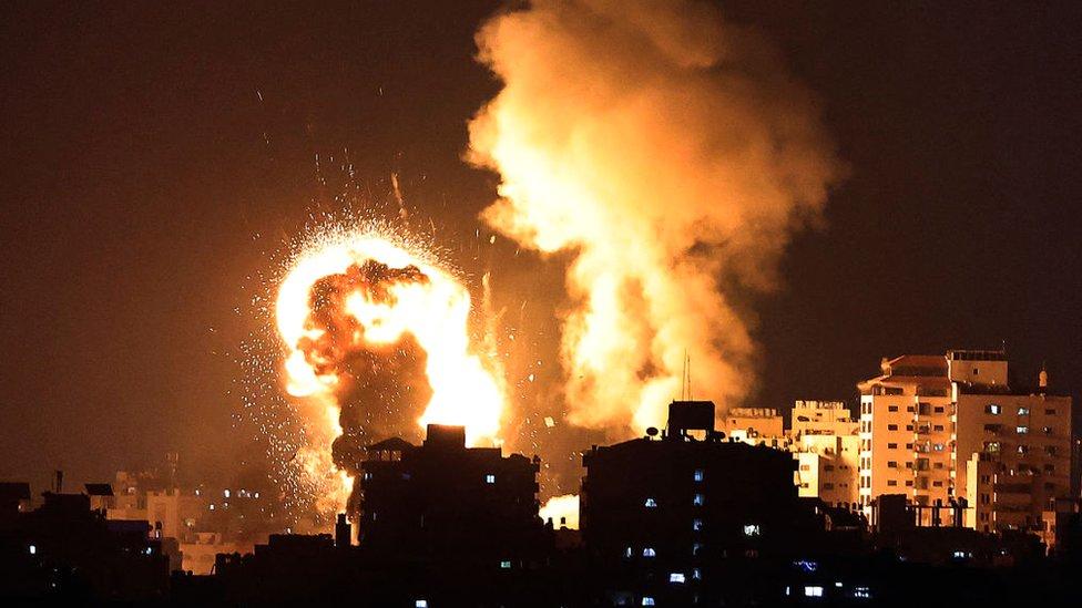 Bombardeo de las fuerzas de Israel sobre la Franja de Gaza.