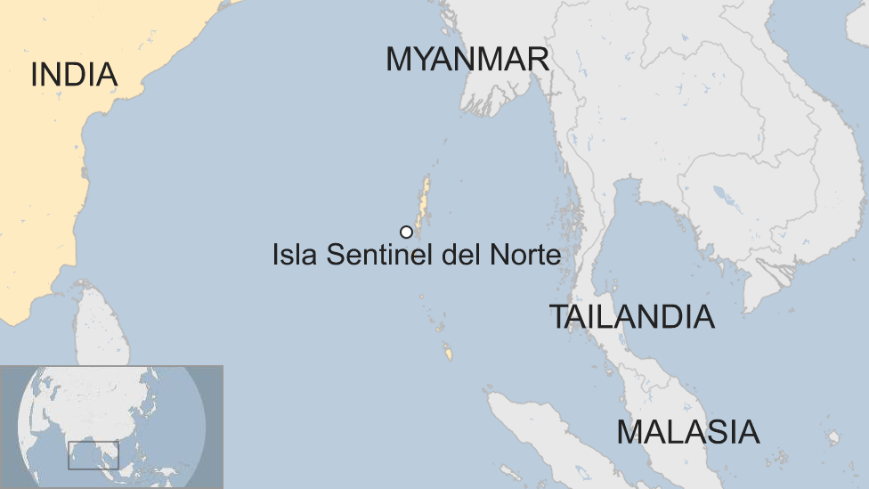 Isla Sentinel del Norte en un mapa