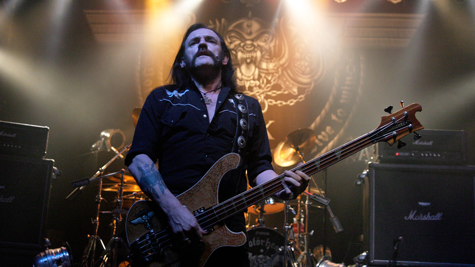 Lemmy, real name Ian Fraser Kilmister, performs with Motorhead at the Great Hall in Cardiff, Wales, UK in 2005
