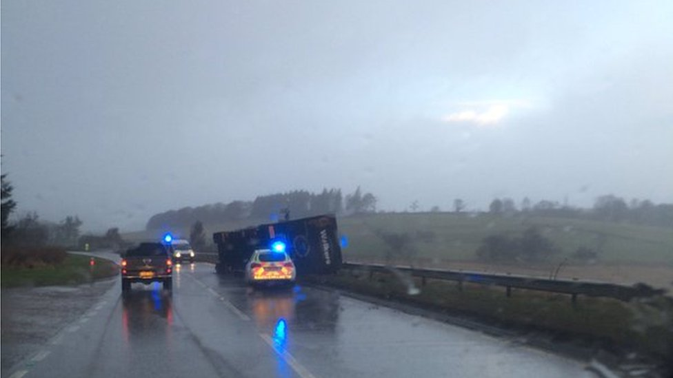 Lorry overturned on A96 near Huntly