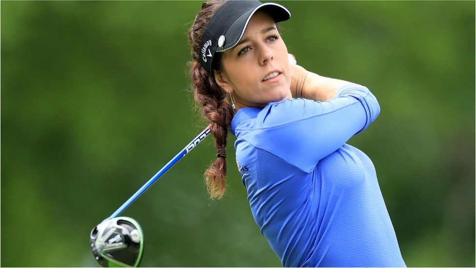 Georgia Hall of England plays her tee shot on the par 5, 15th hole during the second round of the 2019 KPMG Women's PGA Championship at Hazeltine National Golf Club on June 21, 2019 in Chaska, Minnesota