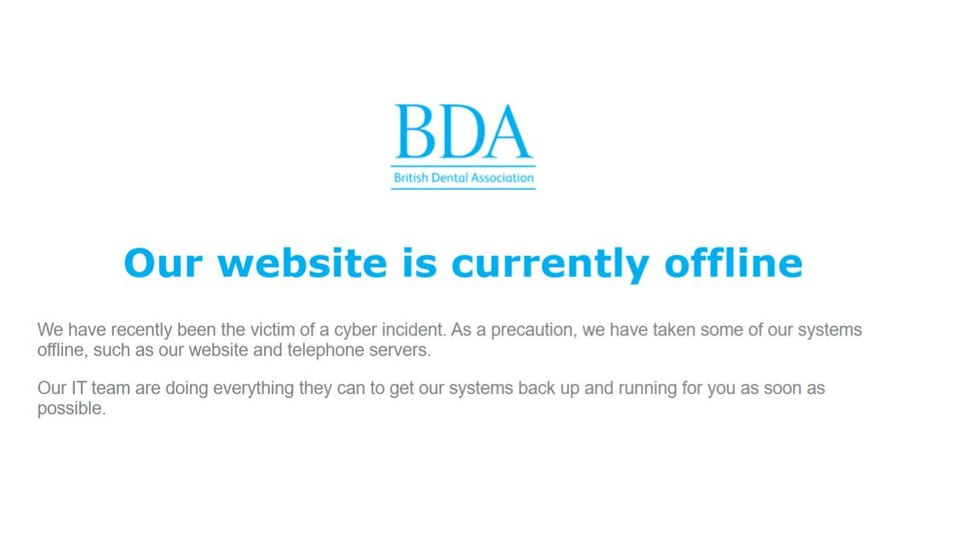 A message displayed on the BDA's website.