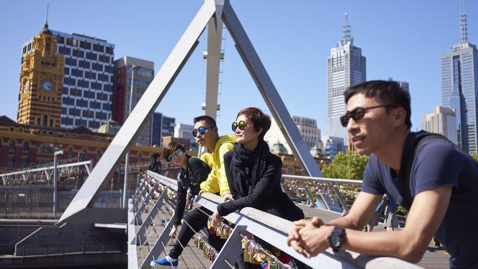 Turistas chineses na Austrália.