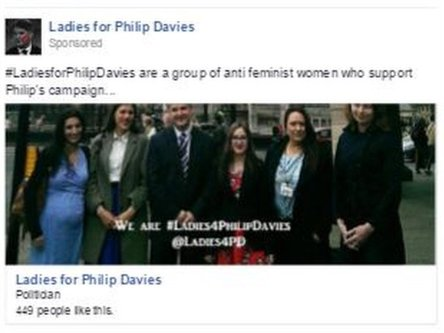 Advert from Ladies for Philip Davies
