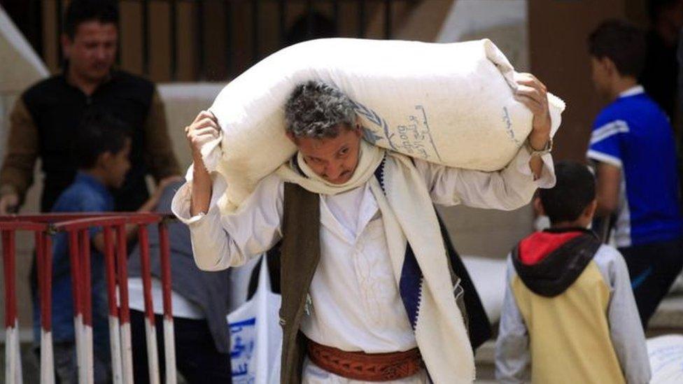 مساعدات غذائية في اليمن