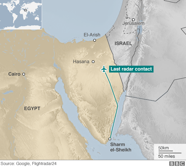 Map of Egypt showing last radar contact of Flight KGL9268