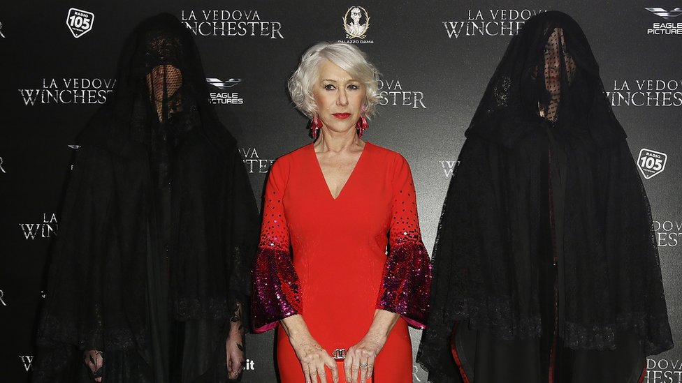 Dame Helen Mirren and companions at the premiere of her horror film Winchester