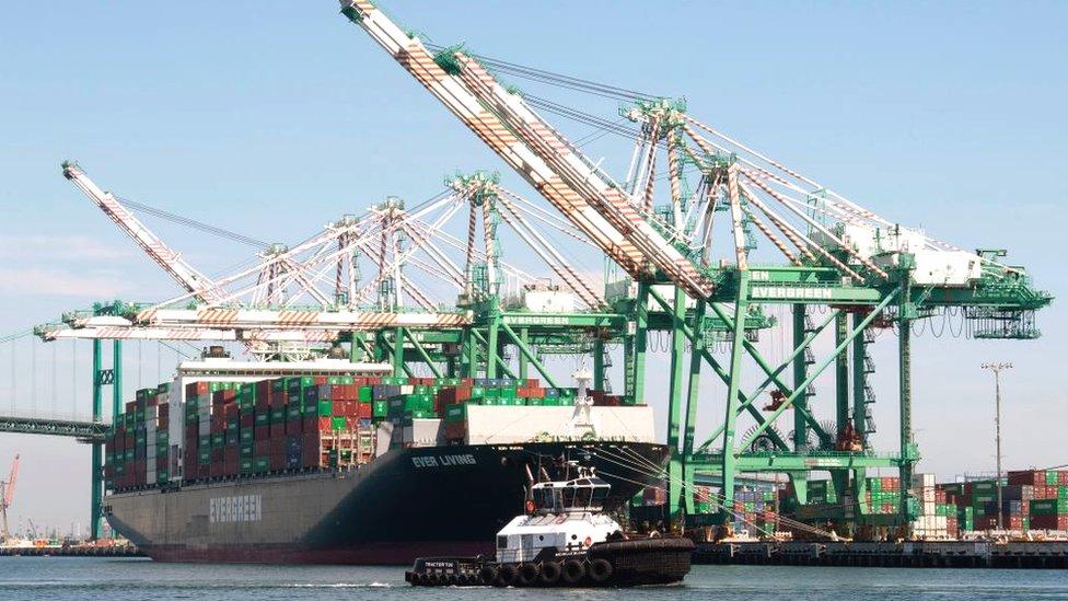 Containers chinos en Los Ángeles, Estados Unidos.