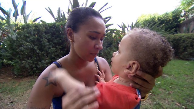 Carla Luiz and her son David who has cerebral palsy and is blind