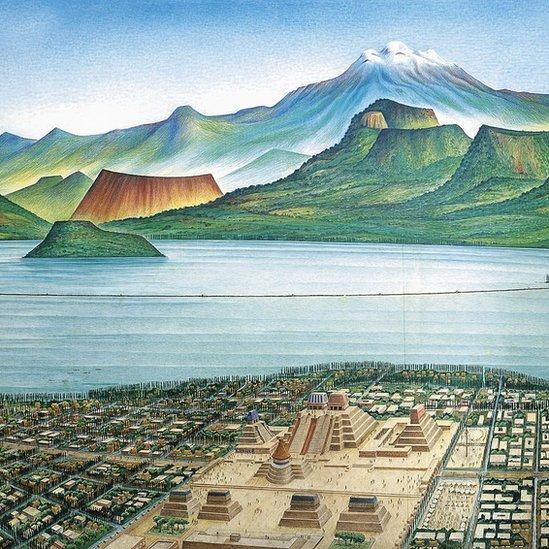 Ilustración de Tenochtitlán.