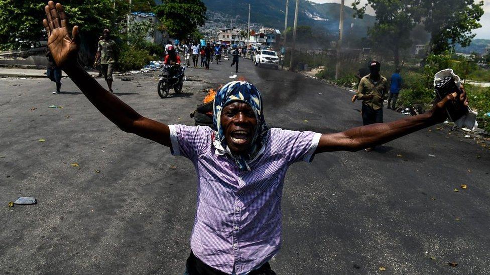 Haiti protester on the street