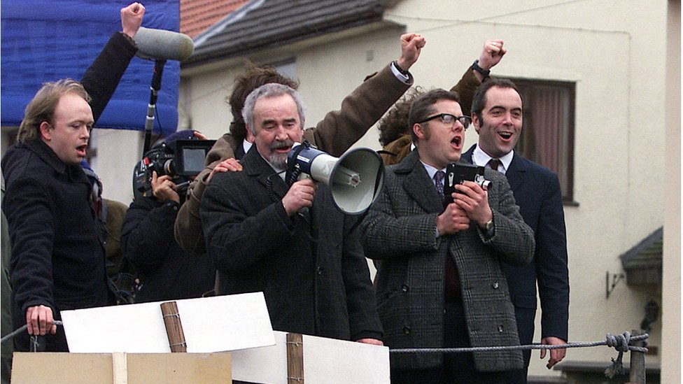 At filming of the Bloody Sunday movie in 2001, James Nesbitt, far right, plays Ivan Cooper