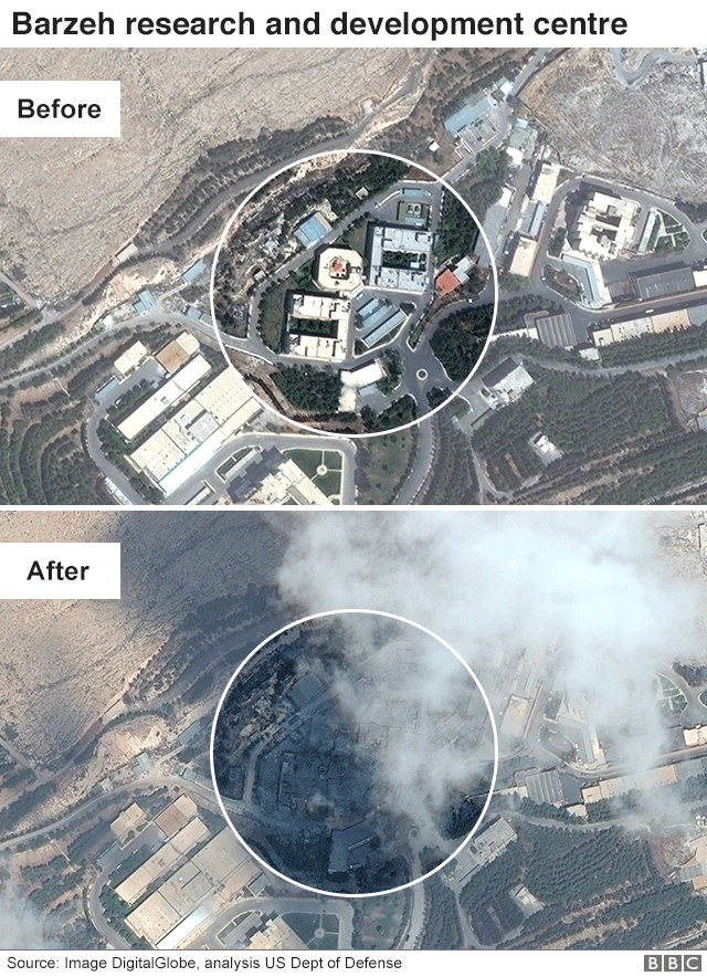 Satellite image showing Barzeh chemical facility before and after air strikes