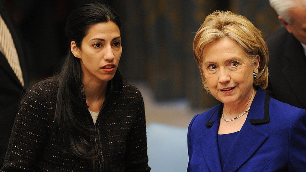 Hillary Clinton and her top aide Huma Abedin in New York.