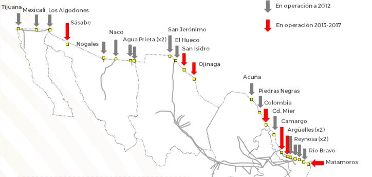 Mapa de las interconexiones de gas entre México y EE.UU.