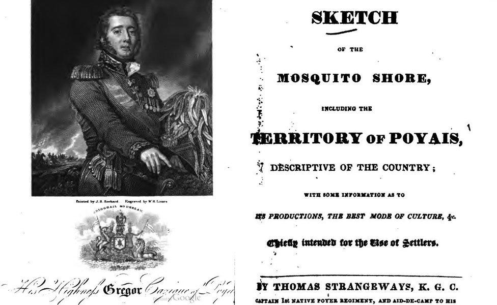 """""""El esquema de la Costa de Mosquito incluido el Territorio de Poyais"""", de Thomas Strangeways"""