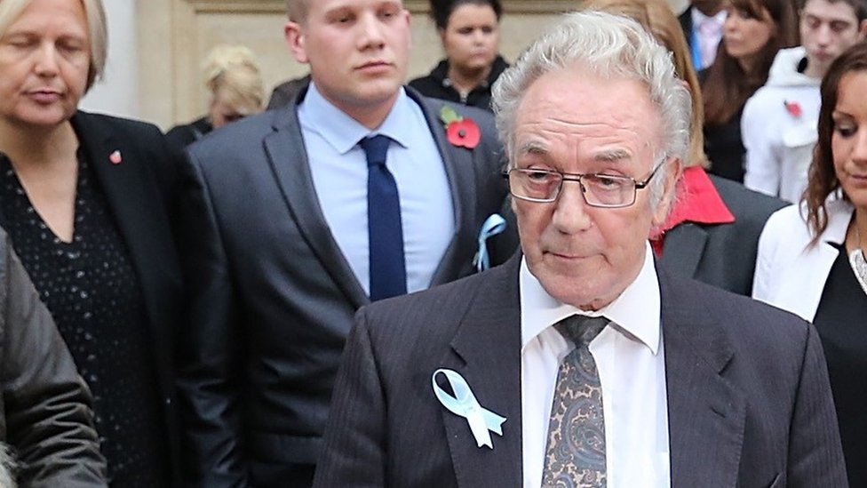 Becky Watts' grandfather John Galsworthy speaking outside court