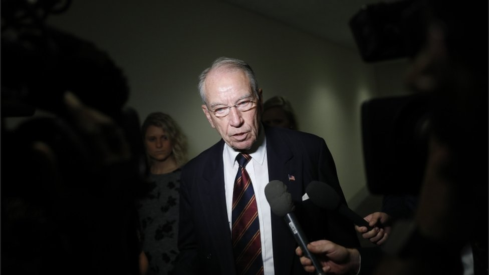 Chuck Grassley speaks with reporters on Capitol Hill