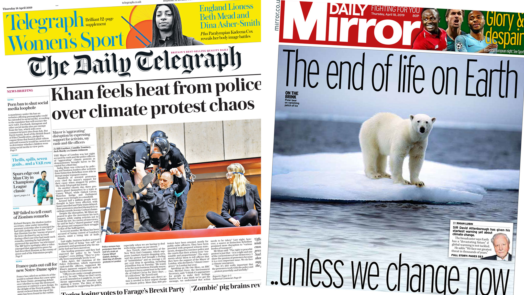 The Papers: Climate change protests 'cause chaos'