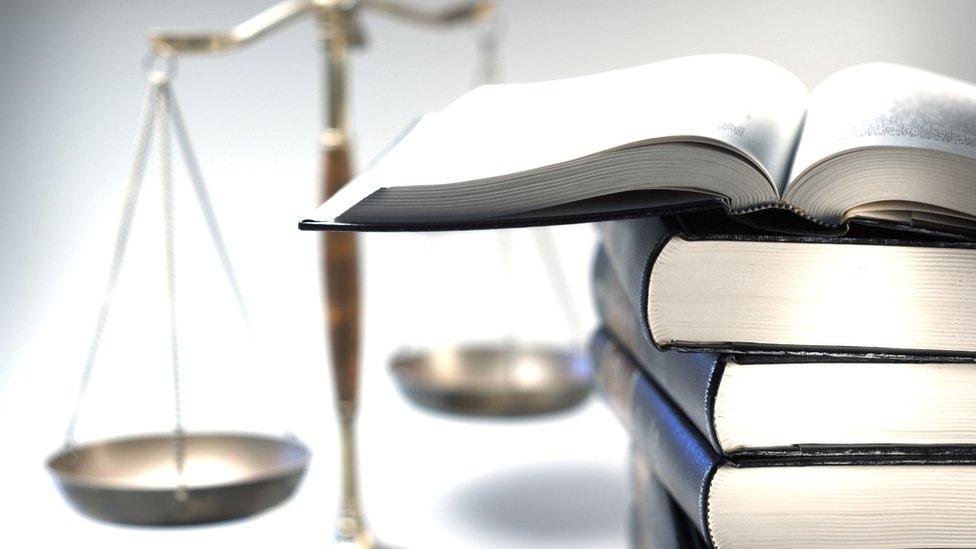 設計圖片:法律書籍與天平