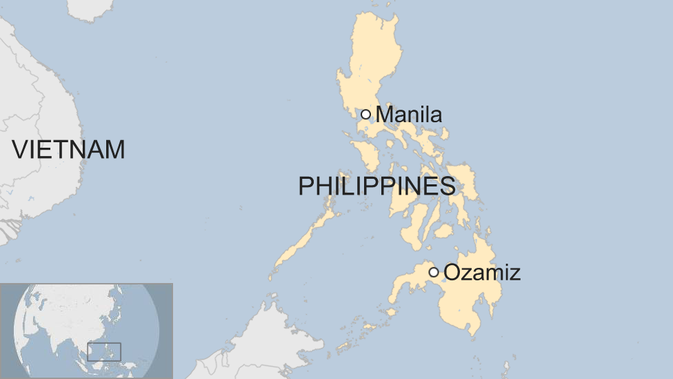 Map shows the location of the city of Ozamiz on the Philippine island of Mindanao