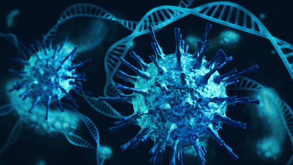 Ilustração de um vírus e de cadeias de DNA