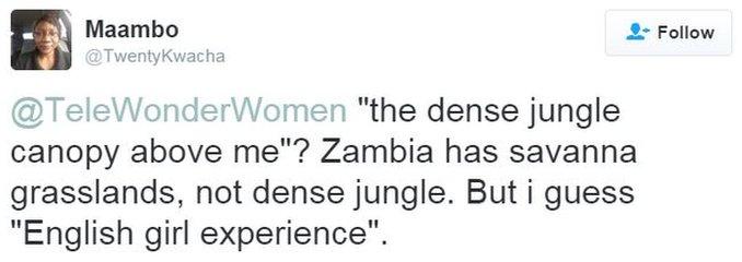 Tweet saying Linton described Zambian landscape wrong