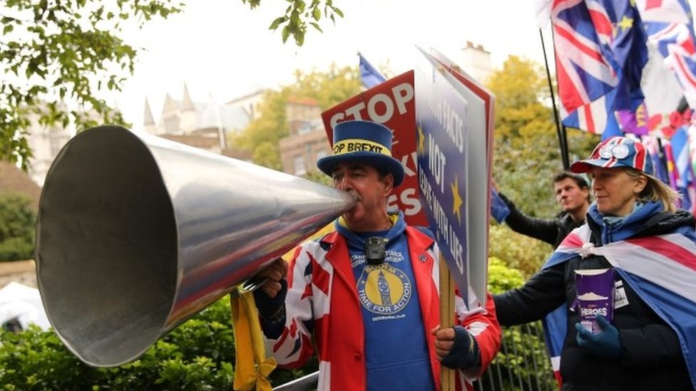 Steve Bray outside Parliament