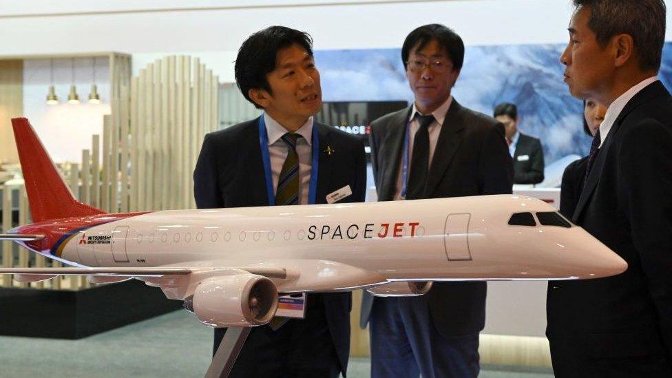 Japan's Mitsubishi Heavy displays its SpaceJet regional jet.