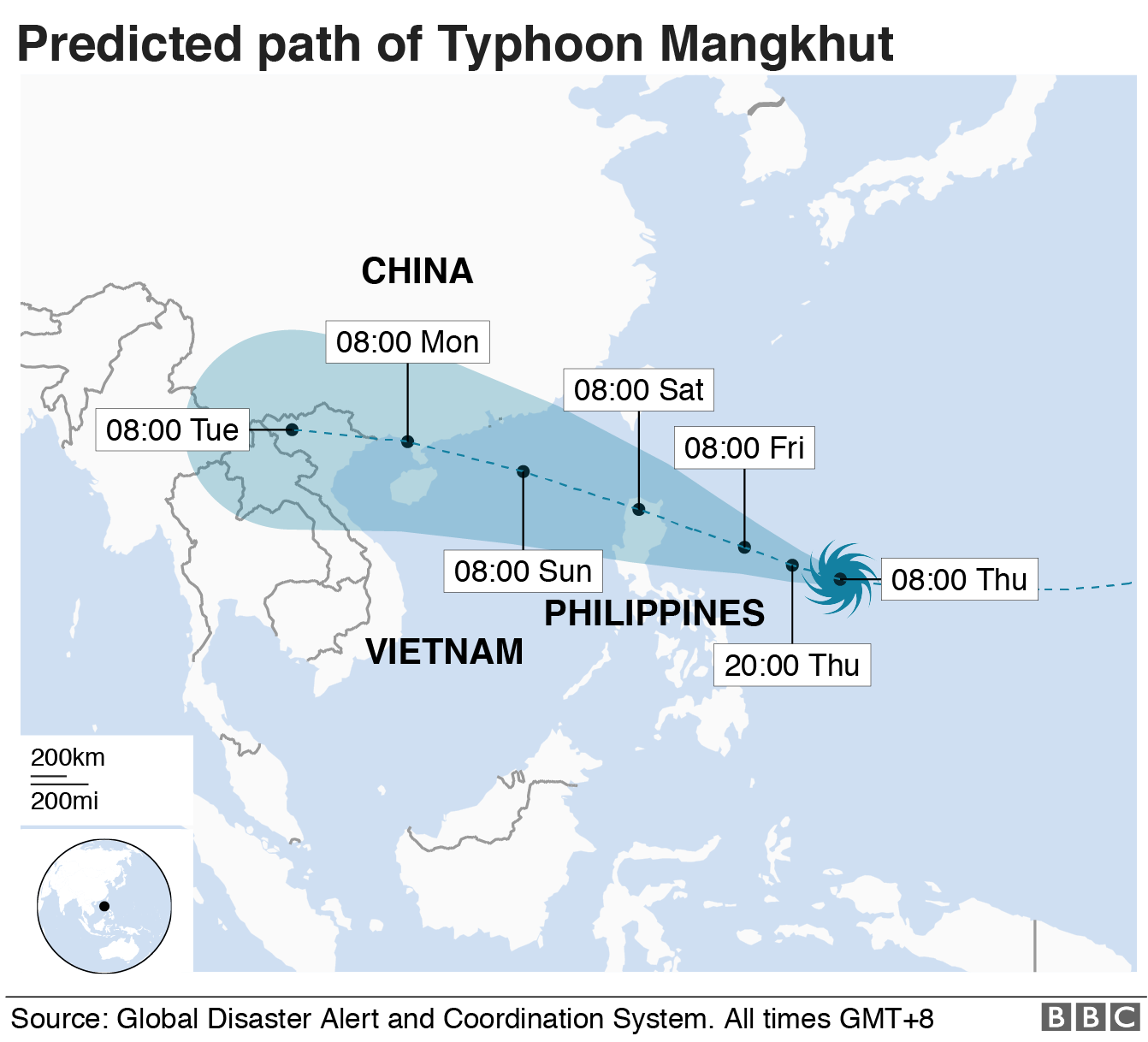 Map of predicted path of Mangkhut