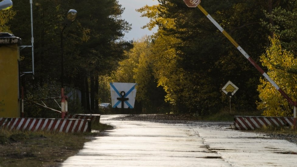 A checkpoint of a military garrison near the village of Nyonoksa in Arkhangelsk region